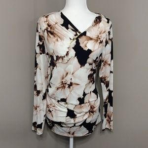 Calvin Klein Floral Long Sleeve Top Career L